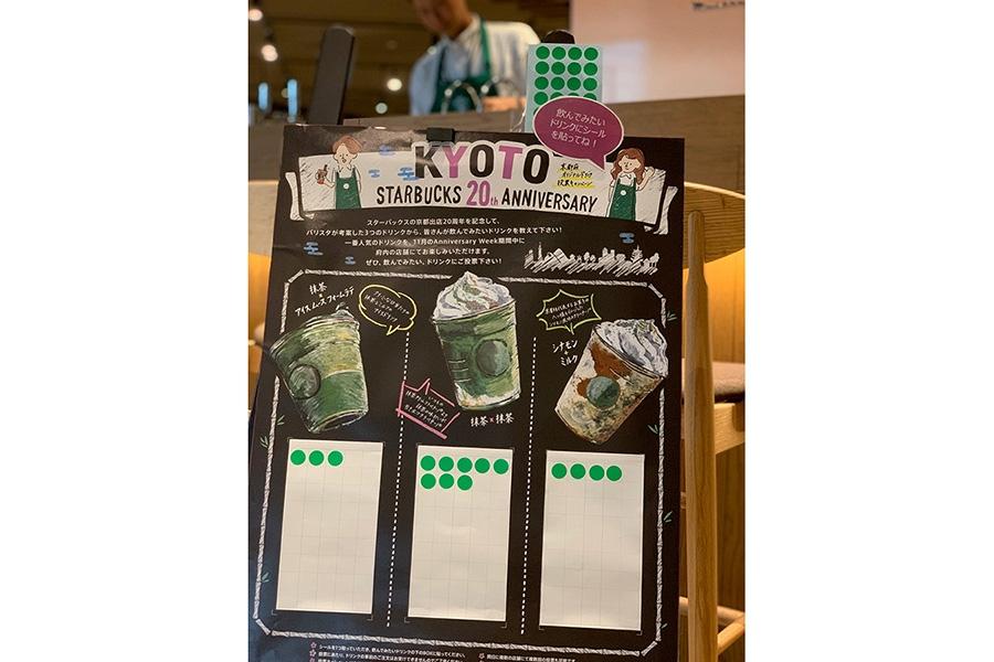 京都の投票ボード。抹茶や八ッ橋を思わせるシナモン風味のドリンクが提案された