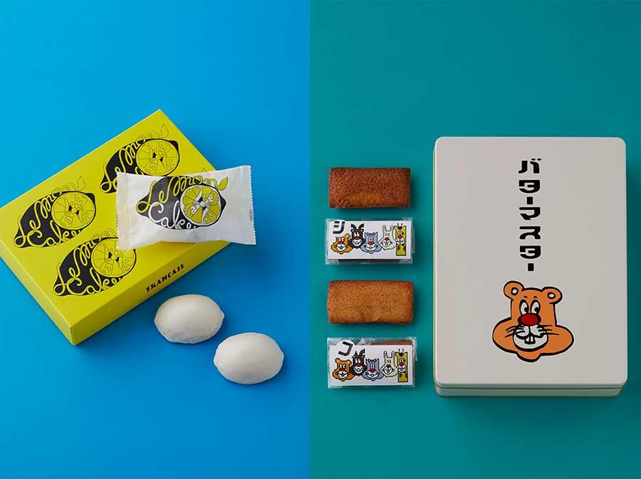 左から、レモンショップ by フランセの生レモンケーキ864円、バターマスターのオリジナル缶入りフィナンシェ10個入り3201円(各日限定30)