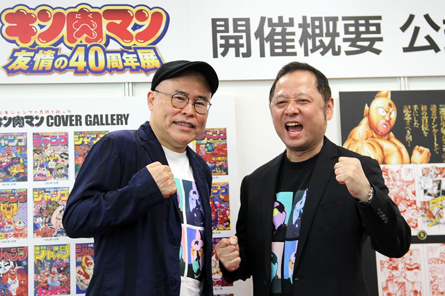 トークショーに登場したゆでたまご先生。左から作画担当・中井義則氏と、原作担当・嶋田 隆司氏