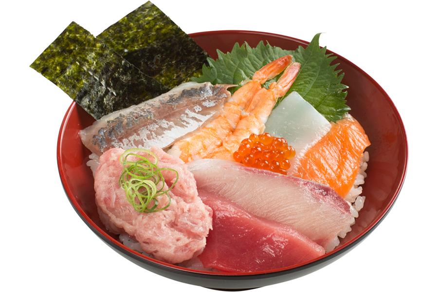 オリジナル商品「人気ネタ8種の海鮮丼」(680円)