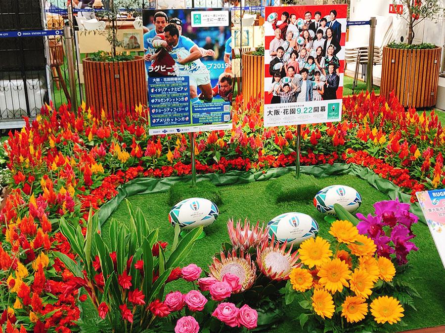 会場には、ラグビーW杯のコラボ花壇も(27日・大阪市内)