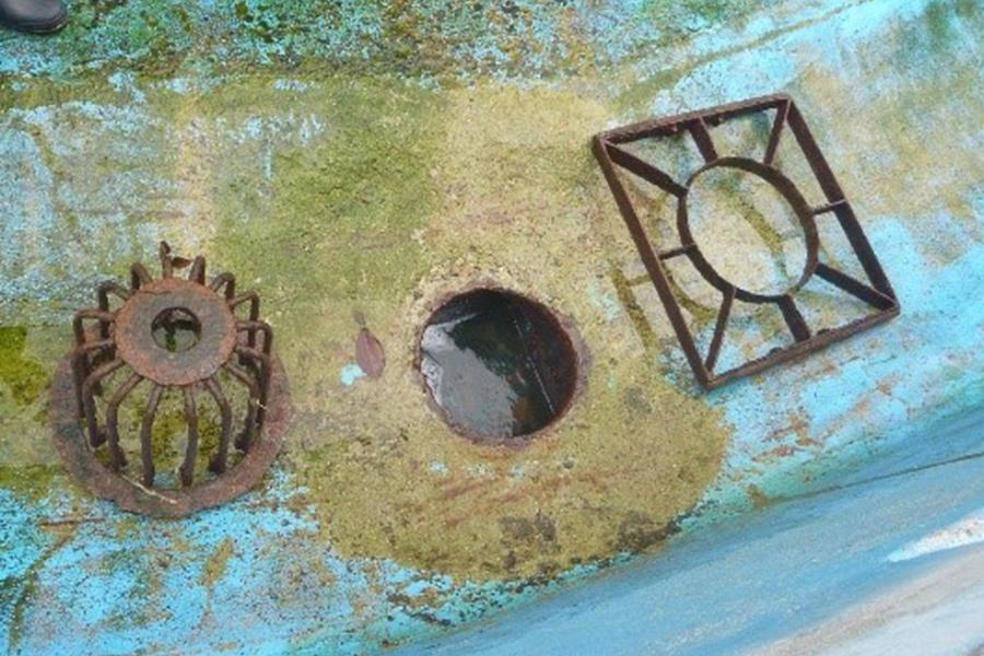 アシカ池に1カ所だけ設置された排水溝。円直径は20cmだが、排水溝カバーの重量は約20kgある(28日・天王寺動物園)