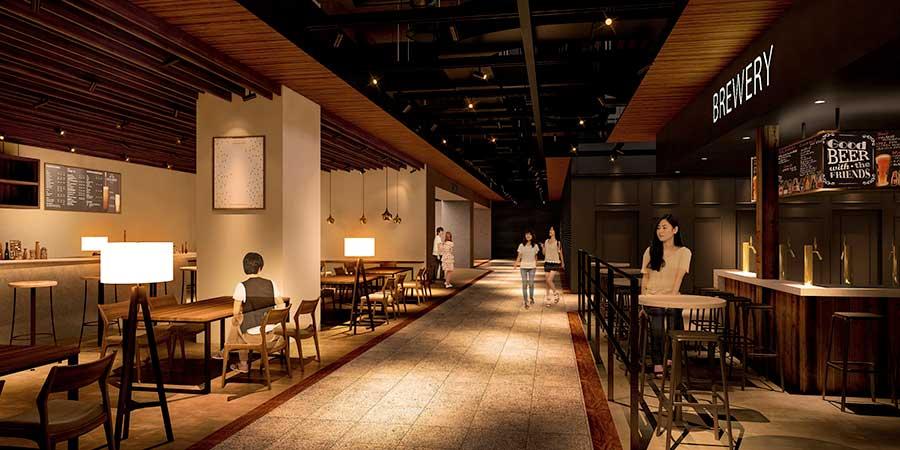 8階にはレストラン&カフェフロア(イメージ図)のほか、コミュニティ型ワークスペース「WeWork」もオープン