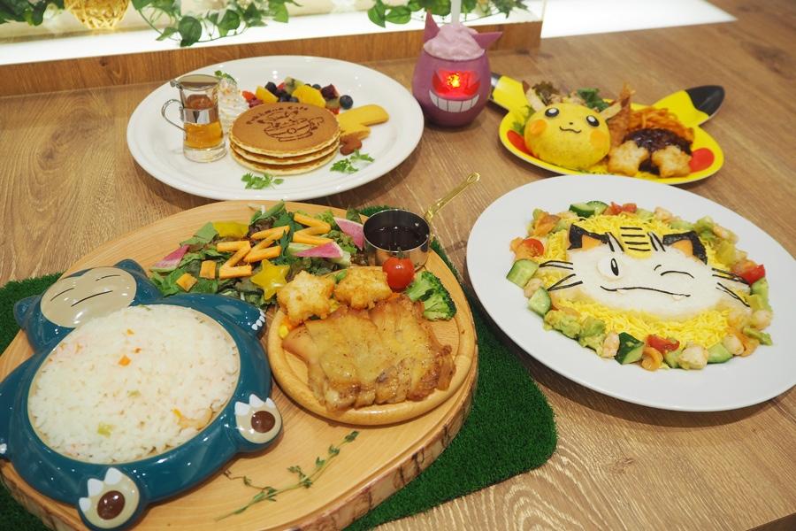 大阪・心斎橋のポケモンカフェのオープンを記念した新商品「にっこりニャースの海老とアボカド彩りちらしご飯」などカラフルなメニュー