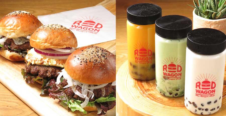 「RED WAGON」の(手前から)ハンバーガー680円、クリームチーズハンバーガー780円、ゴルゴンゾーラチーズバーガー880円。ビーフ100%で玉ねぎは淡路島産を使用。タピオカドリンクは全6種で各550円
