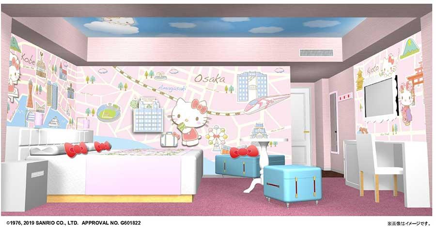 「ハローキティのおさんぽ in Kansaiルーム」は30平米。椅子がトランクケース型に