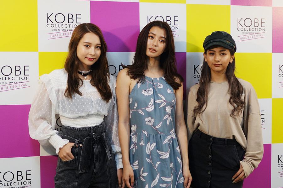 会見では兵庫出身のNiki(左)と朝比奈彩と登場