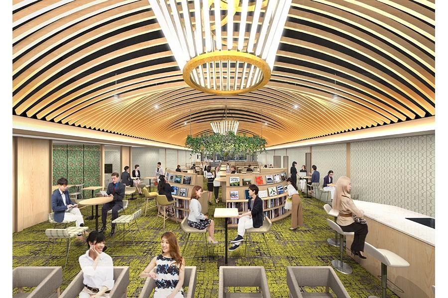 「ONthe UMEDA」地上階のイメージ。天井高4mの広々とした空間になる予定