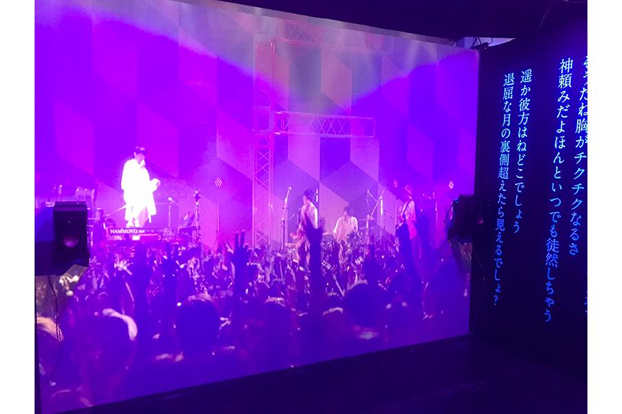 ライブ上映展示の様子。会場ではさらに、故・志村正彦がツアーで着用していた帽子が、福岡・名古屋・大阪会場限定で展示される