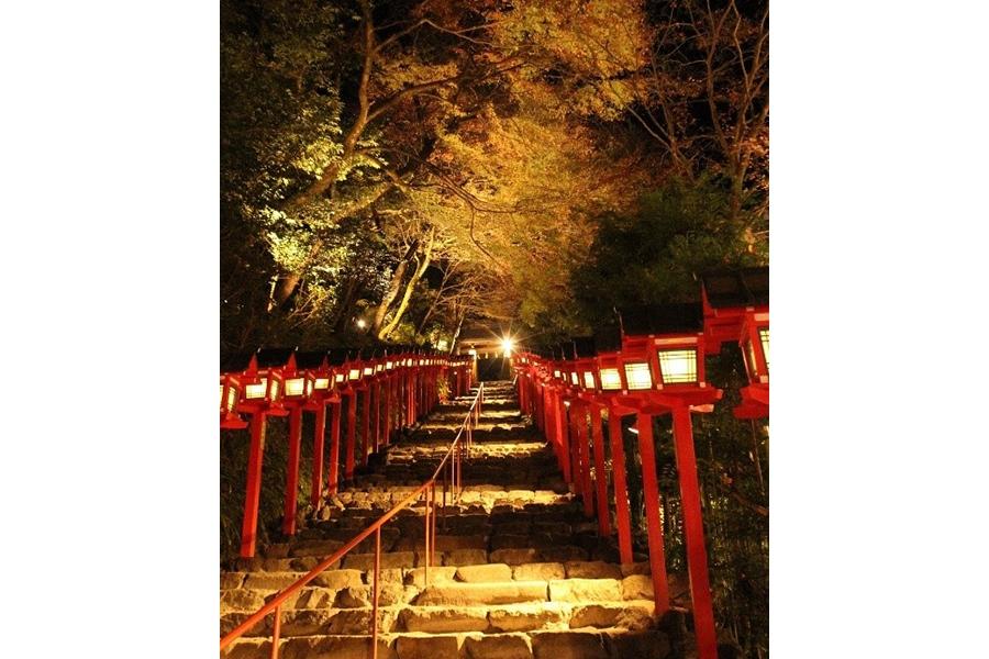 あかりのついた春日灯篭とともに、紅葉が照らされる「貴船神社」(京都市左京区)の参道