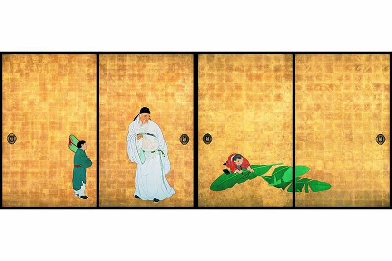 重要文化財「郭子儀図」(全8面のうち4面) 円山応挙、天明8年(1788)、兵庫・大乗寺蔵、通期展示