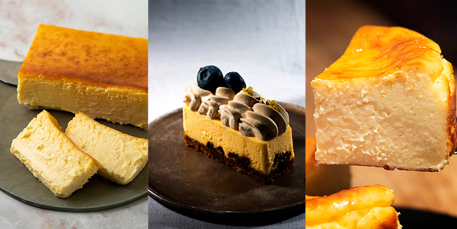 左からミスターチーズケーキ1個4320円(各日限定200個)、パティスリーエスのノクターン648円、PASTERIA SOLのバスクチーズケーキ1ホール1620円