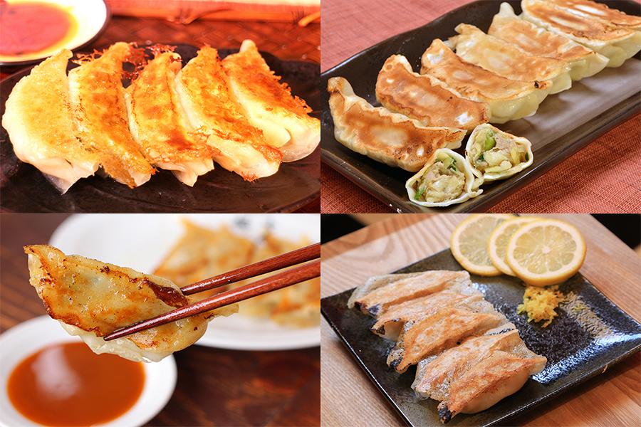 定番の宇都宮&浜松餃子や、(下段左)福吉「京都づくしの肉汁薄皮餃子」、ミヤコパンダ「京都豚のさわやかレモン餃子」など京餃子も楽しめる