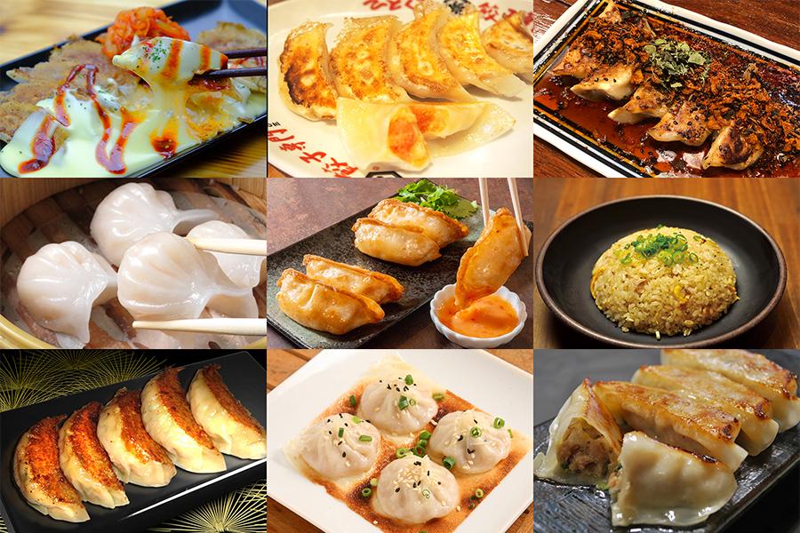 「チリマヨ&ポテト揚げ餃子」や「鴨チーズ餃子ダッカルビ」など、全12店の餃子が並ぶ