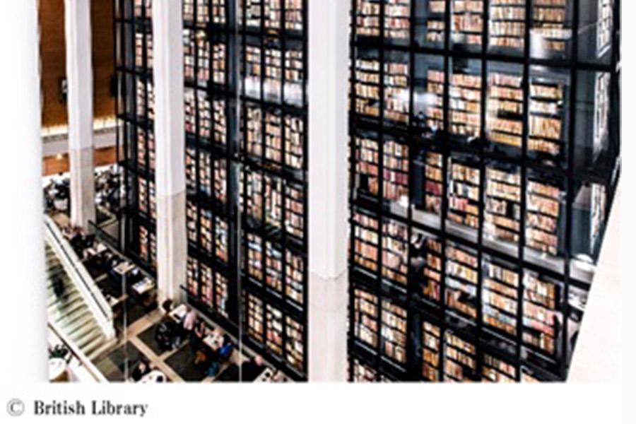 イギリス・大英図書館の内観