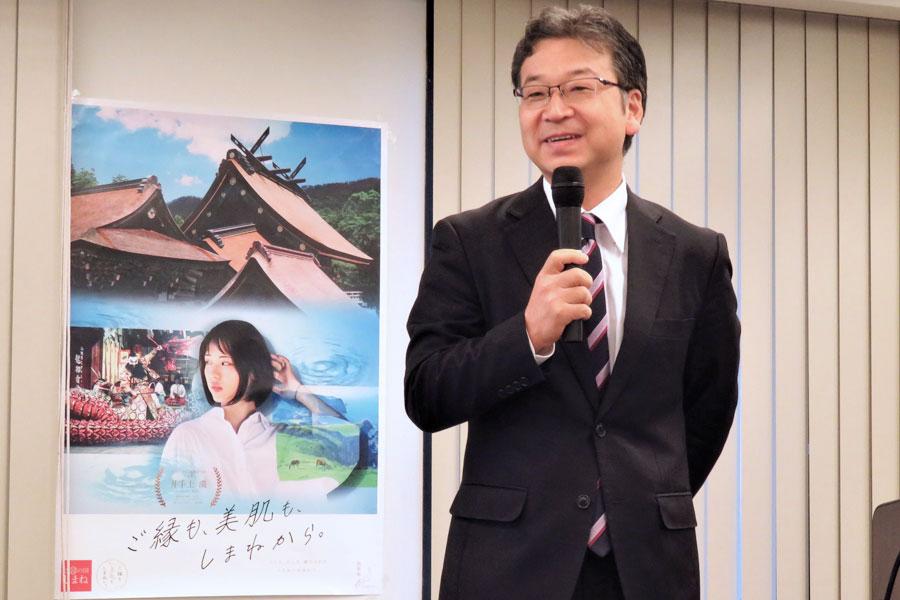 神職とは思えない軽快なトークで出雲の神々について話す「万九千神社」の錦田剛志宮司