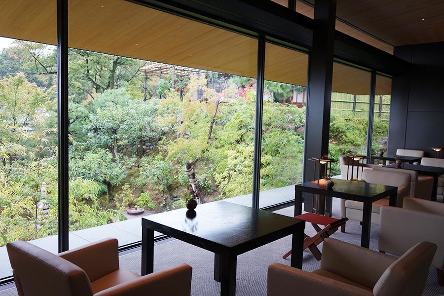 ティーラウンジからは「京大和」の美しい庭園が楽しめる