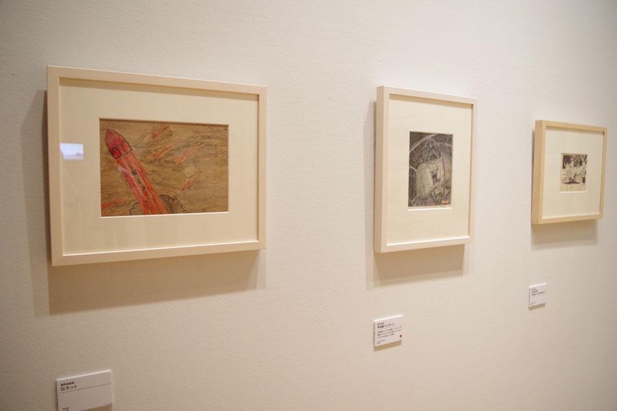 富野監督が小・中学生時代に描いたロケットなどの絵