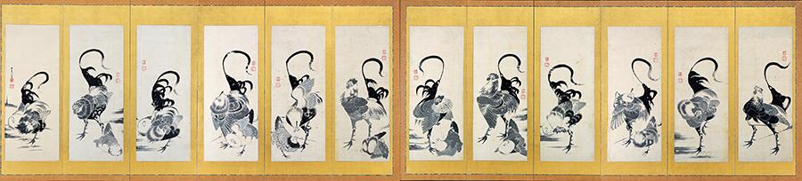 伊藤若冲「群鶏図押絵貼屏風」 屏風 6曲1双 紙本墨画(各172×375)1797年