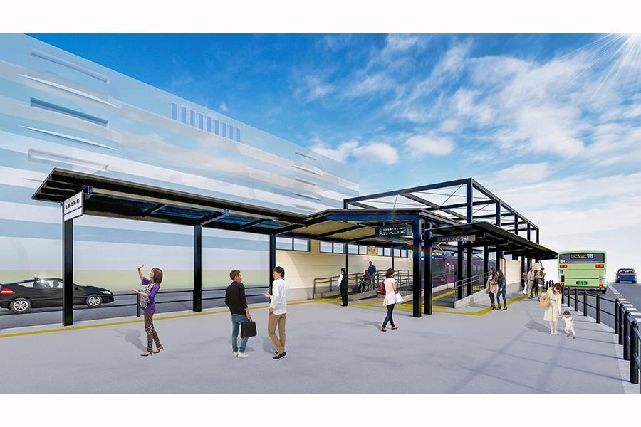 2020年3月にリニューアル予定の嵐電「北野白梅町駅」イメージ図