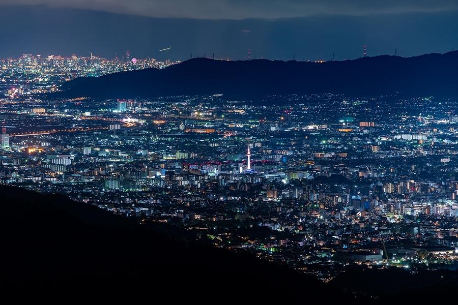 「登仙台」から一望できる京都市内の夜景