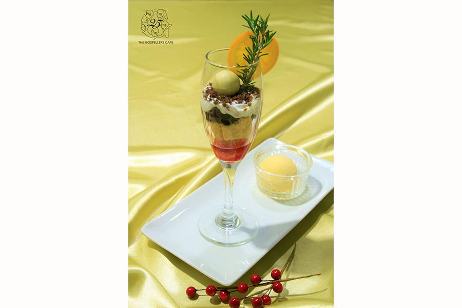 酒井雄二レコメンドの「梨ジャムのボンボンショコラパフェ」(1480円)