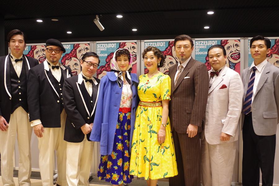 本作の出演者。左からSatoshi Gogo、ASA-CHANG、小原孝、鈴木杏樹、神野美伽、山内圭哉、星田英利、福本雄樹(11月22日・TTホール)