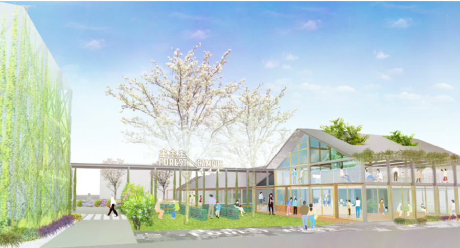 湊山小学校跡地に新しくできる「FOREST CAMPUS」のイメージ図。レストランや診療所など、地域のつながりを生み出す拠点として期待される 提供:神戸市
