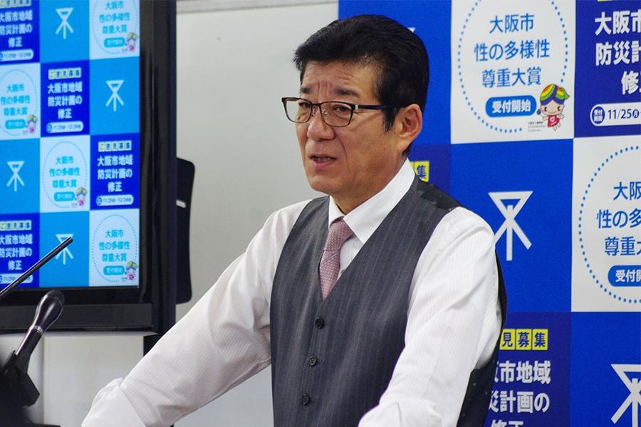 無責任なエサやり行為に関する条例について説明する大阪市・松井一郎市長(21日・大阪市役所)