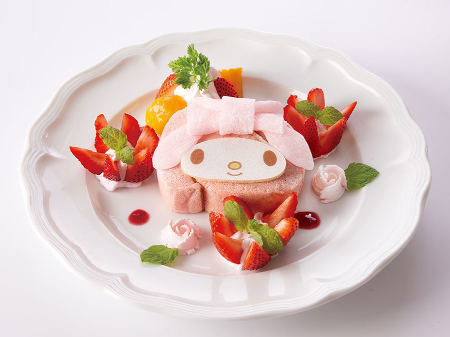 キュートなリボンの苺ロールケーキ1490円