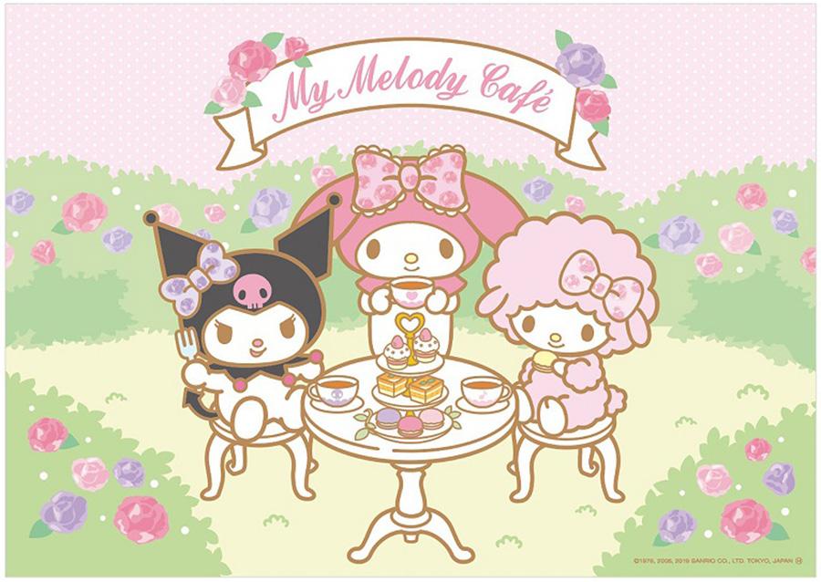 マイメロディカフェ 梅田店のイメージビジュアル。左からクロミちゃん、マイメロディ、マイスウィートピアノ