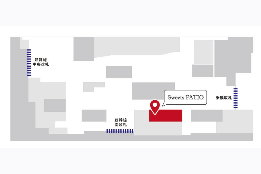 パンフェスタ商品が販売されるスイーツギフト店「Sweets PATIO」の地図