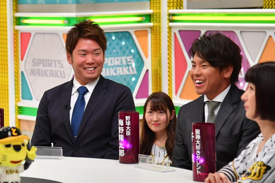 左から、阪神タイガースの西勇輝投手、梅野隆太郎捕手(写真提供:MBS)