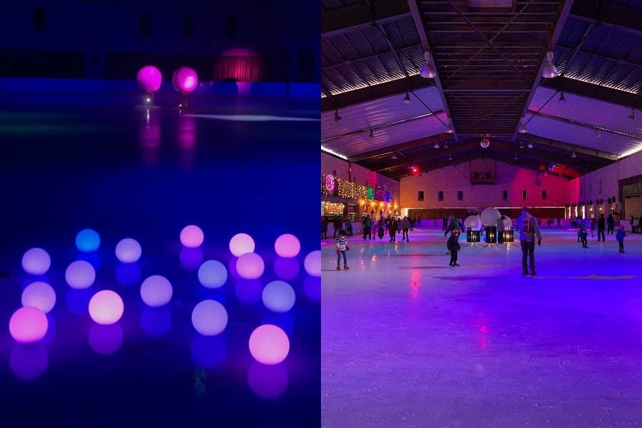 ナイトプールのように薄暗く照明が落とされ、光の球やライトアップの演出のなかリンクを滑る