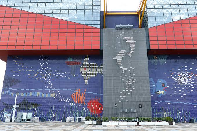 大きなジンベエザメらが泳ぐ巨大な水槽が見どころの海遊館