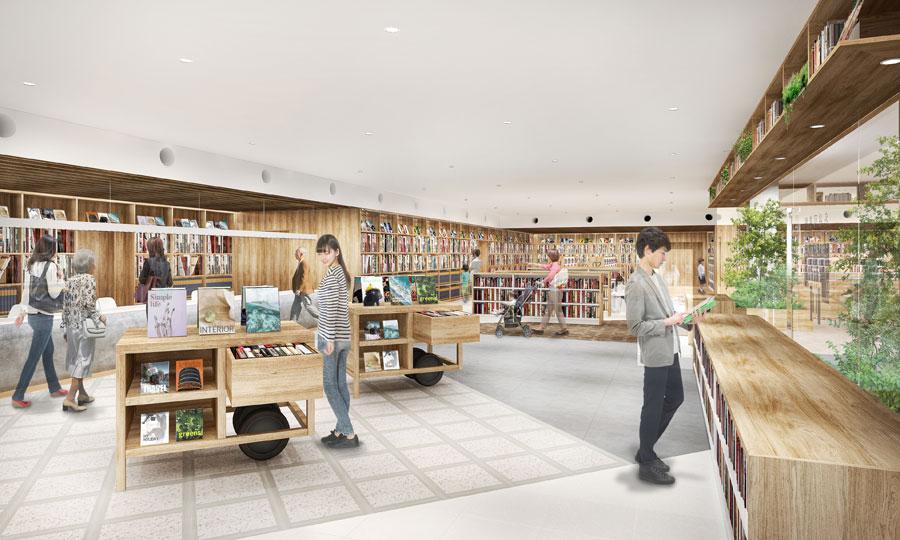 「大丸須磨店」の4階に新設される「名谷図書館(仮称)」のイメージ 提供:神戸市