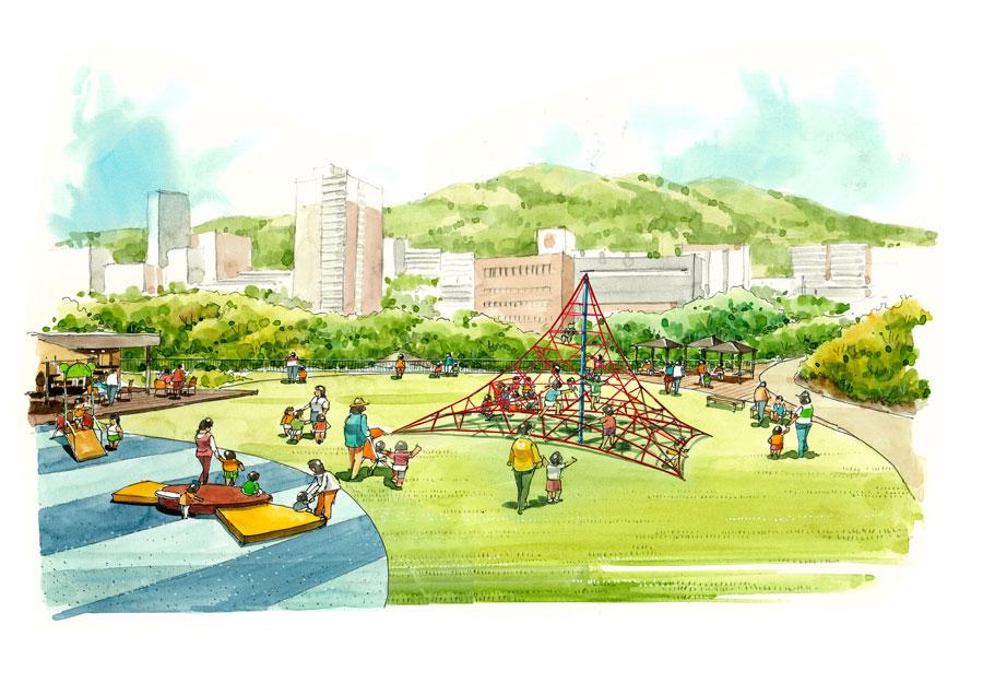 名谷駅の北側に位置する「落合中央公園」もリノベーション。2024年度に完成予定 提供:神戸市