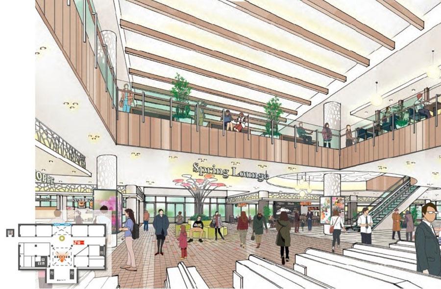 2階を設けた名谷駅改札のリニューアルイメージ。新たな店舗やベンチを配置して人々の憩いのスペースにする 提供:神戸市