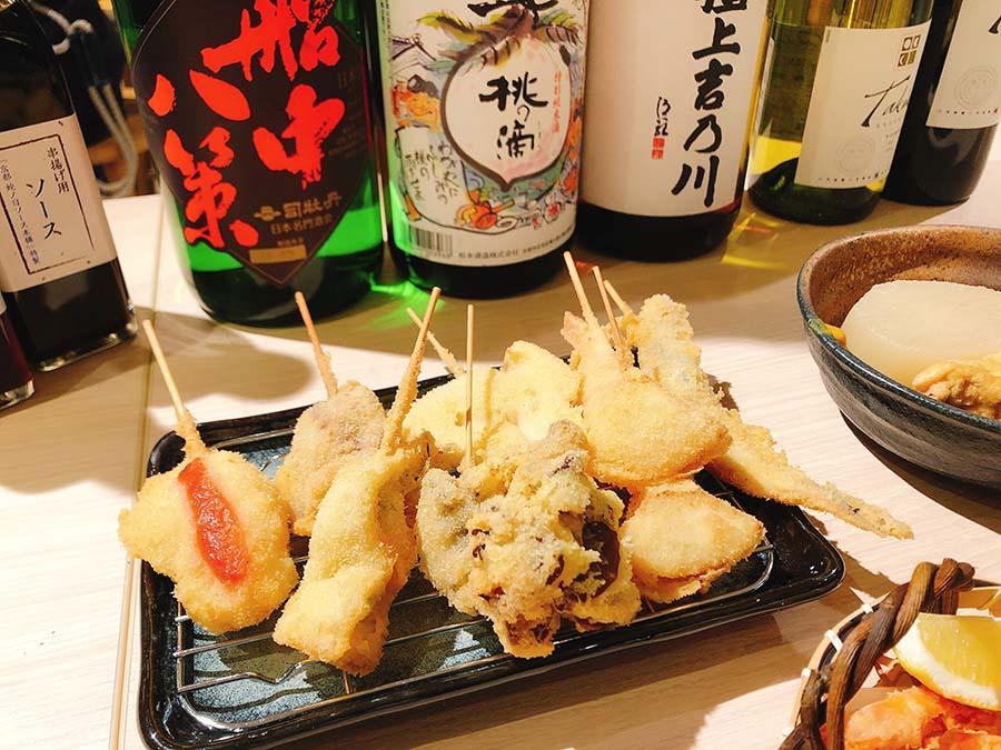 「京の串揚げ 祇園囃子」は薄衣仕立ての串揚げと出汁にこだわったおでんの店