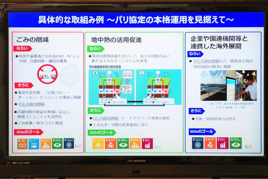 市が掲げる具体的な取り組み例(12月18日・大阪市役所)