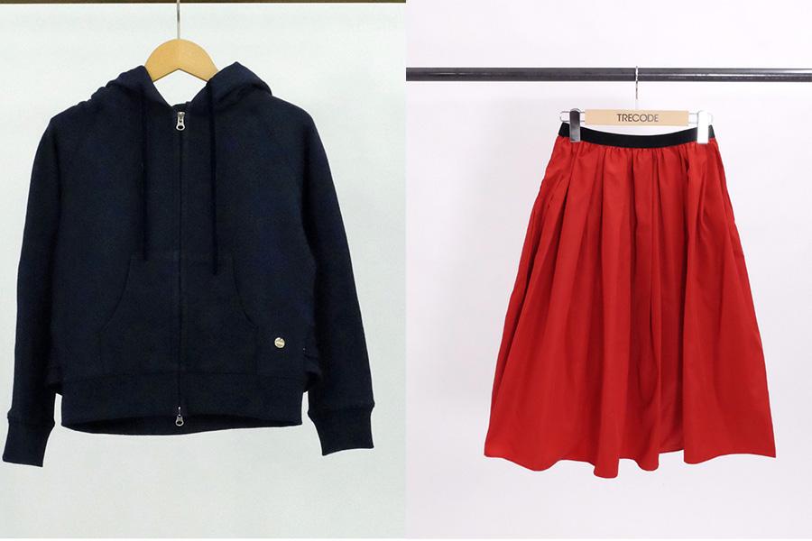 左からアパレル会社クロシェのブランド「トレコード」。神戸・山の手フリルパーカーと、神戸・山の手スカート