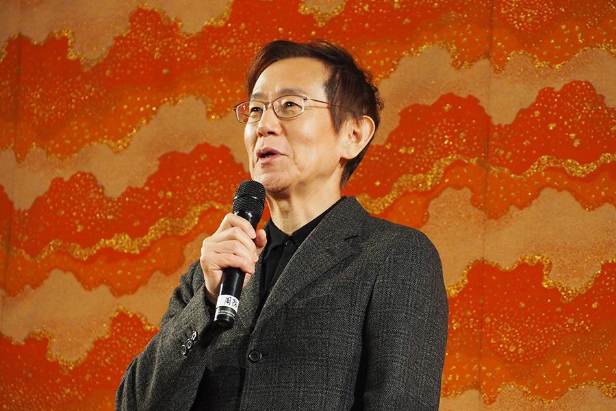 映画『カツベン!』の公開記念イベントに登場した周防正行監督(7日・東映太秦映画村)