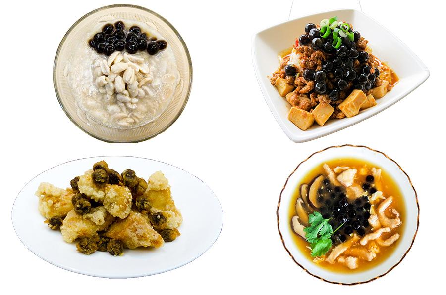 左上から時計回りに、小甜甜(シャオティェンティェン)の珍珠花生湯(熱)(タピオカピーナッツスイーツ)、後山(ホーシャン)の麻婆豆腐珍珠飯(麻婆豆腐タピオカ丼)、洄瀾の珍珠肉羹(タピオカ肉トロミスープ)、強哥(チャンゴ)の珍珠鹹酥雞(タピオカ台湾風唐揚げ)