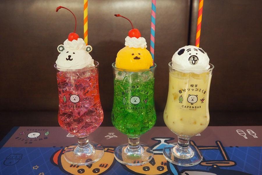 左から「くまクリームソーダ」「もぐコロクリームソーダ」「パグさんミックスジュース」(各790円)