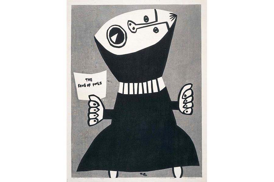 《唄う女》1968 年 木版, 和紙 伊丹市立美術館蔵