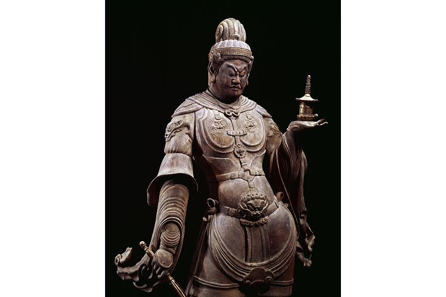 重要文化財 毘沙門天立像(部分) 木造 彩色 像高160.0cm 平安時代(9世紀) 福岡・観世音寺