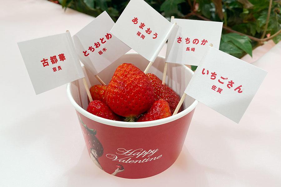 各フロアで開催されている、いちご食べ比べ(550円)