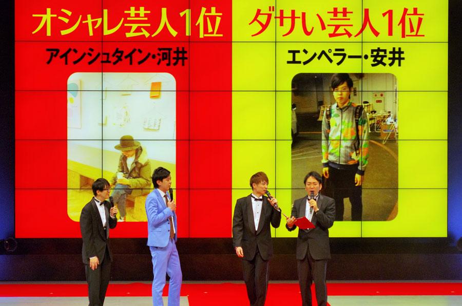 舞台上のモニター画面に50位から1位まで、芸人の私服が映し出された。左から3人目がアインシュタイン・河井ゆずる、2人目がエンペラー・安井祐弥(1月13日・なんばグランド花月)