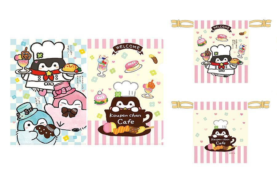 左からクリアファイルセット(600円・税別)、巾着(1000円・税別)