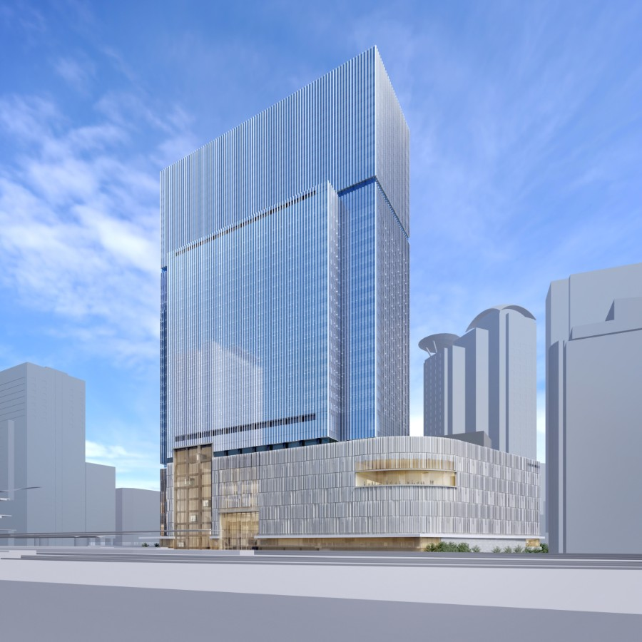 「梅田3丁目計画(仮称)」完成予想図。右下が劇場部分